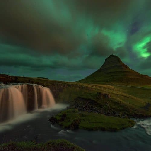 Kirkjufell and Northern Lights in Iceland